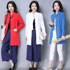 Yeeya - Chinese Button Long Blouse