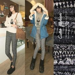 CUTIE FASHION - Brushed-Fleece Lined Patterned Leggings