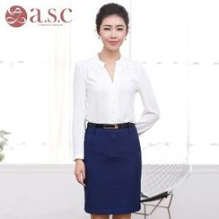 Aision - Blouse / Pencil Skirt / Double-Buttoned Ruffled Vest