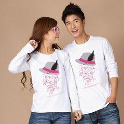 Porspor - Long-Sleeve Fedora Print Couple T-Shirt