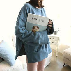 NANING9 - Oversized Slit-Hem Sweatshirt