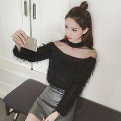 Zzang Girls - Sheer Yoke Sweater