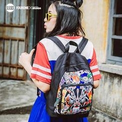 Fourone - Chinese Mask Print Nylon Backpack