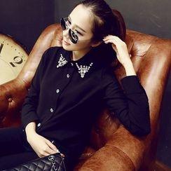 YOZI - Rhinestone Collar Chiffon Blouse