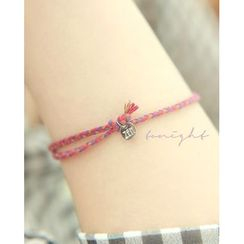 Miss21 Korea - Coin-Charm Braided Yarn Bracelet