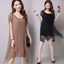 Yeeya - Plain Short-Sleeve Chiffon Dress