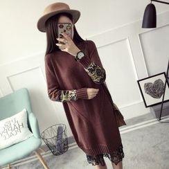 Qimi - 拼接高領針織連衣裙