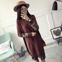 Qimi - Panel Mock Neck Knit Dress