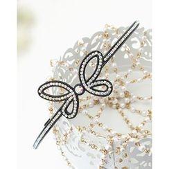 Miss21 Korea - Rhinestone Butterfly Slim Hair Band