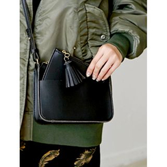 FROMBEGINNING - Faux-Leather Crossbody Bag with Clutch