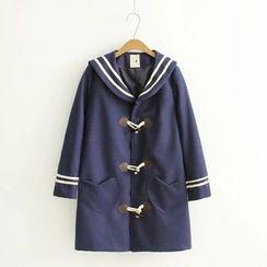 白金天使 - 水手領牛角扣大衣