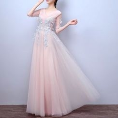 LYRA - V-neck Elbow-Sleeve Evening Dress