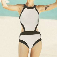 Moonrise Swimwear - Contrast Trim Cutout Swimsuit