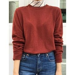 FROMBEGINNING - Crewneck Colored Knit Top
