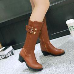 Romantina - Buckled Block Heel Mid-calf Boots