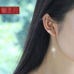 Sylvion - Non-matching Cross Drop Earrings