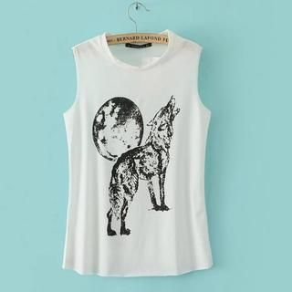 JVL - Sleeveless Wolf Print Top