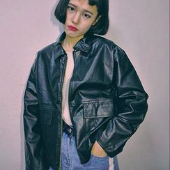 Miss Kekeli - Pocketed Loose Fit Faux Leather Jacket