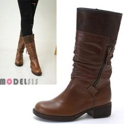 MODELSIS - Genuine Leather Shirred Zip-Side Boots