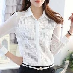 Eferu - Perforated Panel Long Sleeve Chiffon Blouse