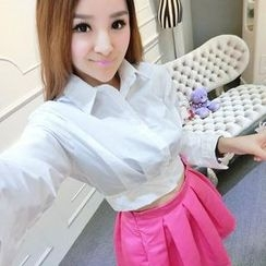 Ando Store - Set: Long-Sleeve Cropped Blouse + Pleated Skirt