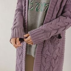 JUSTONE - Open-Front Long Cable-Knit Cardigan