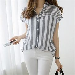 PIPPIN - Striped Short-Sleeve Blouse