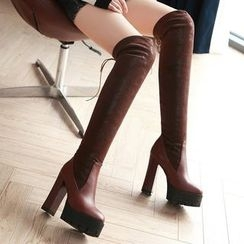 Gizmal Boots - Chunky Heel Platform Over-the Knee Boots