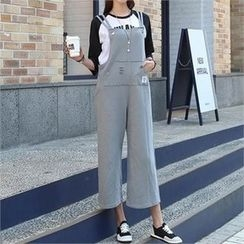 CHICFOX - Kangaroo-Pocket Cropped Pants with Suspenders