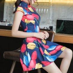Miss Four Qipao - Floral Print Cap-Sleeve A-Line Cheongsam