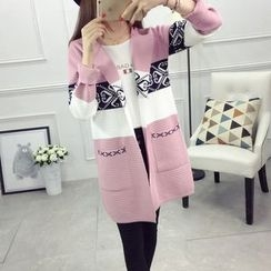 Pumpernickel - Patterned Color Block Long Knit Coat