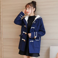 Colorful Shop - Fleece-Lined Hooded Coat