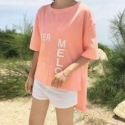 Cloud Nine - Lettering Elbow-Sleeve T-Shirt