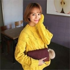 QNIGIRLS - Round-Neck Colored Sweater