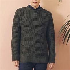 MITOSHOP - Wool Blend Waffle-Knit Sweater