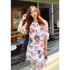 REDOPIN - Flower Patterned Dip-Back T-Shirt Dress