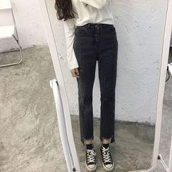 Tiny Times - 散邊直筒牛仔褲