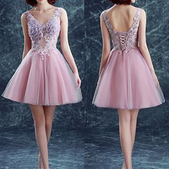 Angel Bridal - Sleeveless Rosette Rhinestone Mini Prom Dress