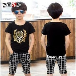 Lullaby - Kids Set: Print T-Shirt + Check Shorts