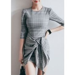 Chlo.D.Manon - Wrap-Front Glen-Plaid Mini Sheath Dress