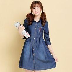 Meadowy - Short-Sleeve Denim A-line Dress
