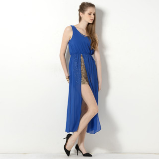 YesStyle Z - Sleeveless Sequined Underlay Slit Maxi Dress