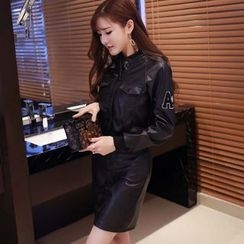 Phyllis - Set: Buttoned Faux Leather Jacket + Skirt