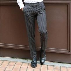 BYMONO - Stripe Straight-Cut Dress Pants