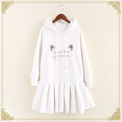 Fairyland - Cat Ear Embroidered Pleated Hem Hoodie Dress