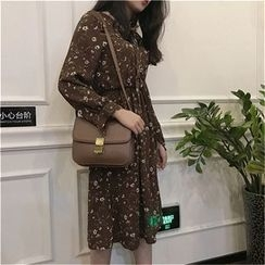 Karnel - Floral Print Long Sleeve Chiffon Dress
