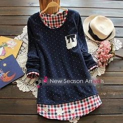 Flower Idea - Inset Gingham Top Pullover