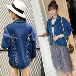 Colorful Shop - Lace-Up Denim Jacket