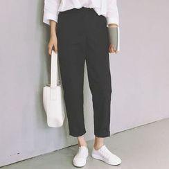 Mocha - Baggy Cropped Pants