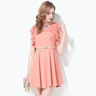 Moonbasa - Ruffle-Trim A-Line Dress